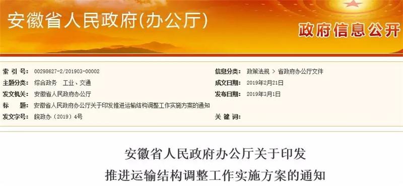安徽省运输结构将有重大调整!